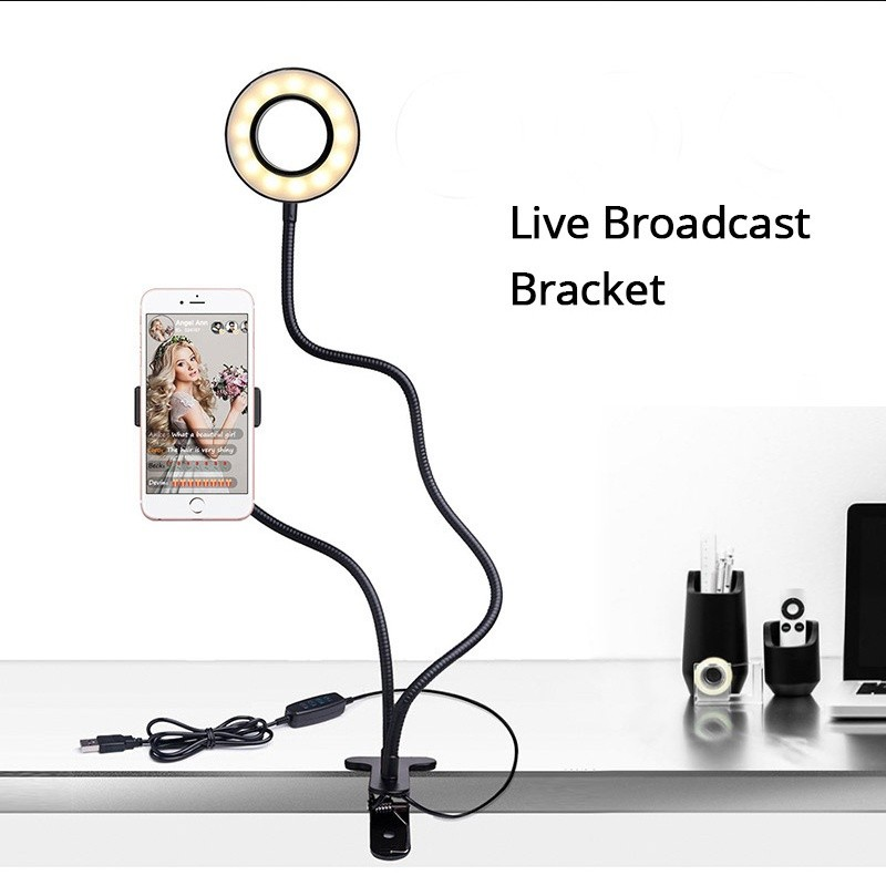 Add 2 Adjustable selfie ring light with cell phone holder - 3 Modes LED Light at 10% OFF